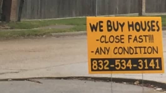 A sign in Houston after Hurricane Harvey.