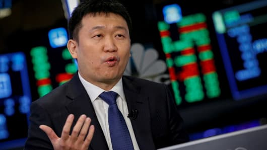 Singapore-based Sea Limited Chairman and CEO Forrest Li speaks during an interview with CNBC following his company's IPO on the floor of the New York Stock Exchange (NYSE) in New York, U.S., October 20, 2017.