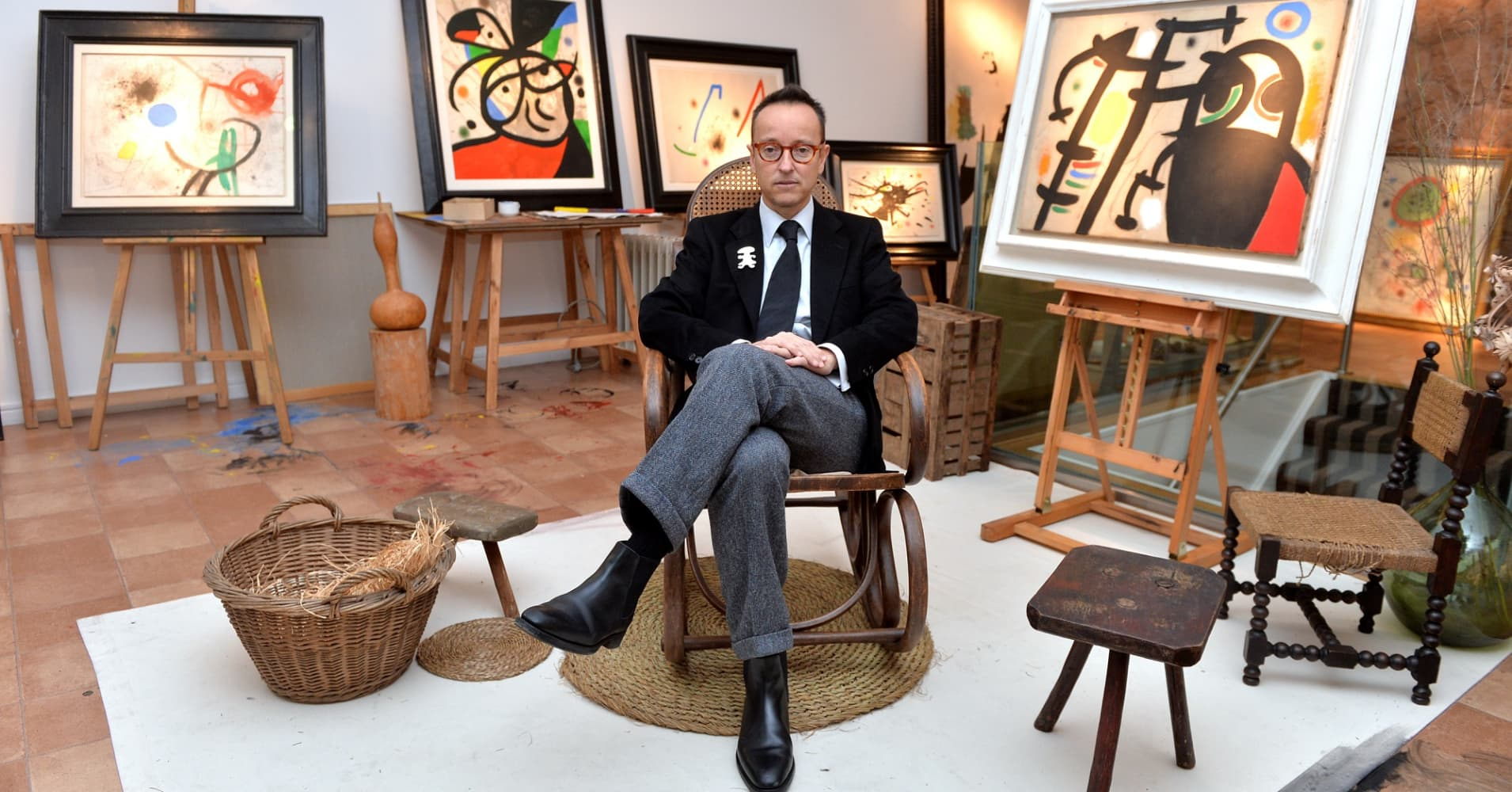 The grandson of Spanish artist Joan Miro, Joan Punyet Miro at a recreation of the studio of the painter Joan Miro