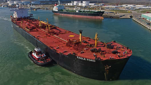 The Eagle Ford crude oil tanker sails out of the the NuStar Energy dock at the Port of Corpus Christi in Corpus Christi, Texas, U.S., on Thursday, Jan. 7, 2016.