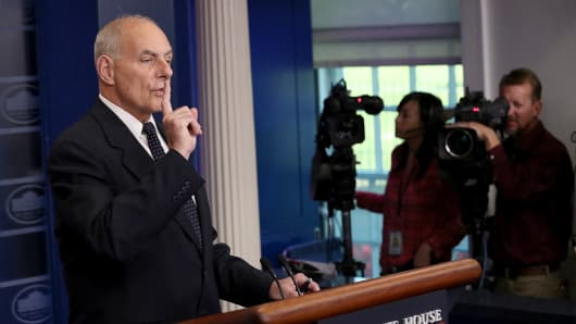 White House Chief of Staff John Kelly speaks during a White House briefing October 19, 2017 in Washington, DC.