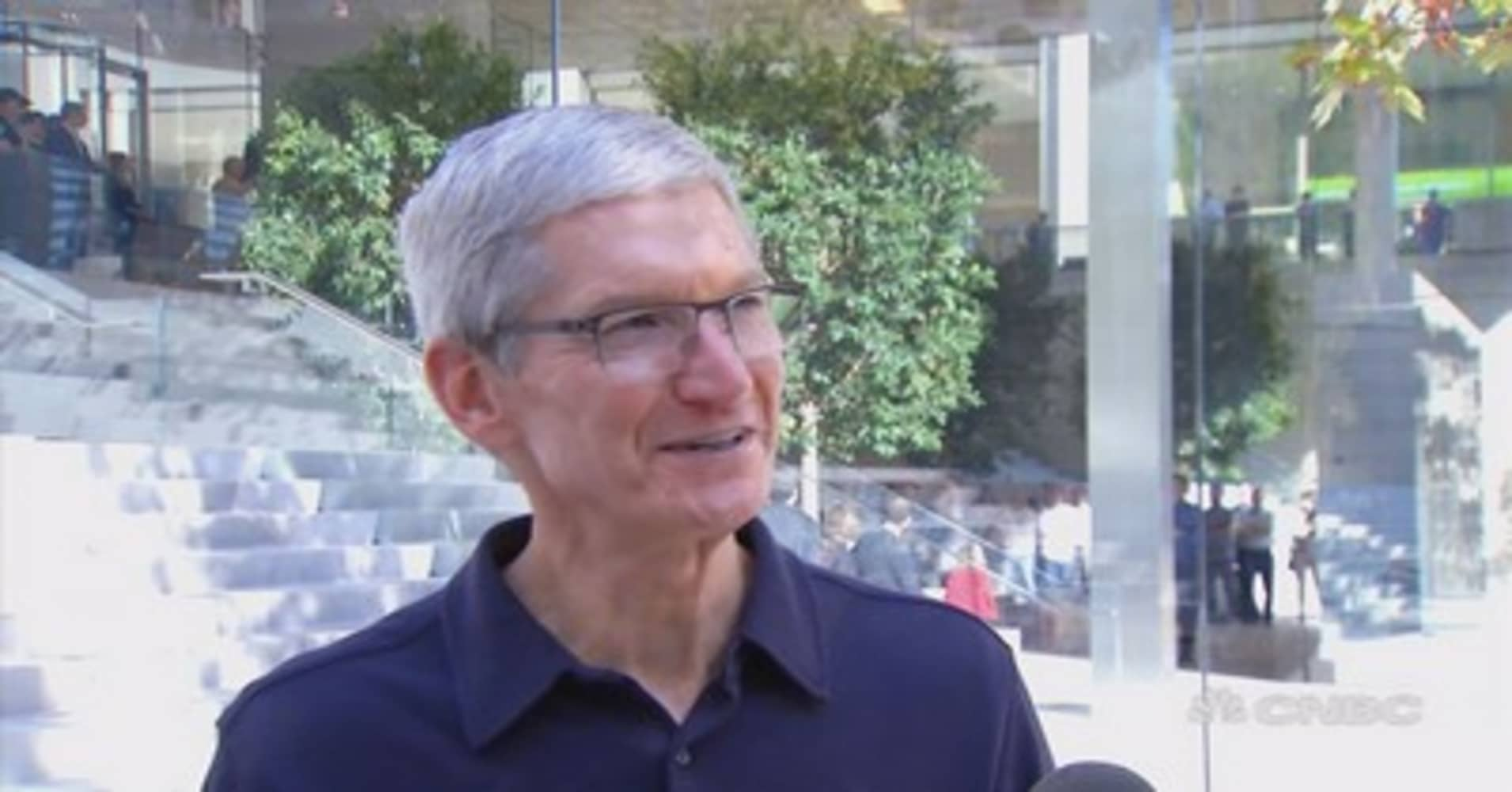 Image result for Apple CEO Tim Cook at new Chicago flagship store: 'A place where people can connect'