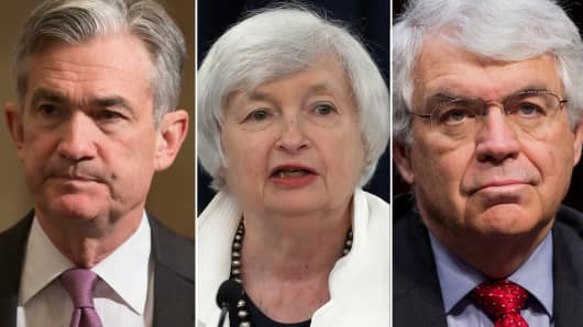 Jerome Powell, Janet Yellen and John Taylor.