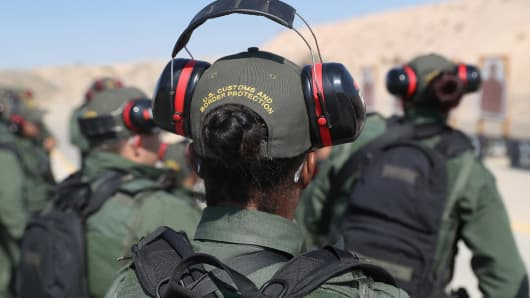 U.S. Border Patrol trainees take part in a weapons training class at the U.S. Border Patrol Academy on August 3, 2017 in Artesia, New Mexico.