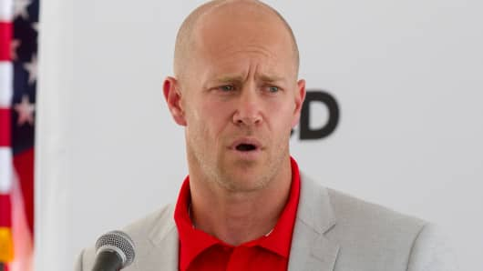 Kip Fulks, chief operating officer for Under Armour, speaks at a ceremony to announce the athletic apparel maker's new $100 million distribution center in Mt. Juliet, Tenn.