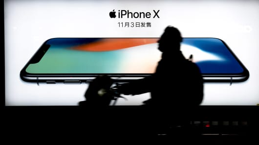 Lightbox advertisement of IPhone X at a bus station. iPhone X will be on sale in China on Nov. 8th, 2017.