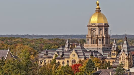 A general view of the Administration Building with the Golden Dome on the Campus of Notre Dame.
