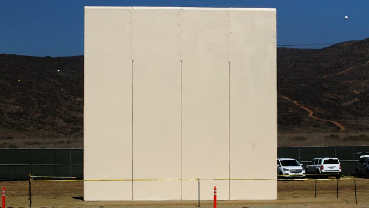 A prototype for U.S. President Donald Trump's border wall with Mexico is seen in this picture taken from the Mexican side of the border in Tijuana, Mexico October 12, 2017.