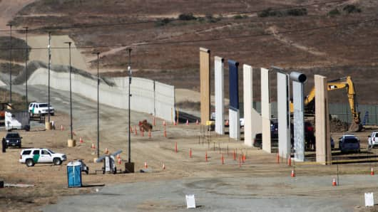 Prototypes for U.S. President Donald Trump's border wall with Mexico are shown near completion in this picture taken from the Mexican side of the border, in Tijuana, Mexico, October 23, 2017.