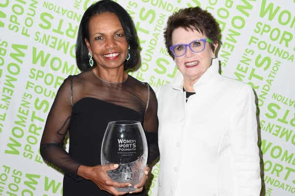 Condoleezza Rice receives the Billie Jean King leadership award during The Women's Sports Foundation's 38th Annual Salute To Women in Sports Awards Gala.