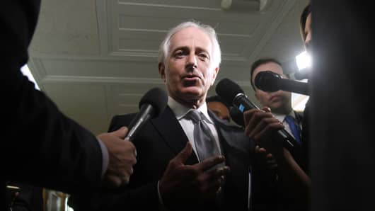 Senator Bob Corker, a Republican from Tennessee, speaks to members of the media on Capitol Hill in Washington, D.C., U.S., on Tuesday, Oct. 24, 2017. The feud between President Donald Trump and Corker flared up again.