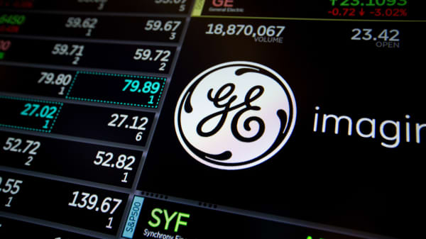 A monitor displays signage for General Electric Co. (GE) on the floor of the New York Stock Exchange.
