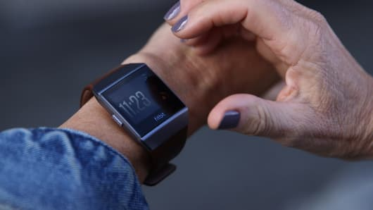 San Francisco resident Laurie Farr tries out a Fitbit Ionic