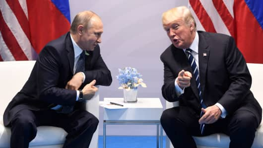 US President Donald Trump and Russia President Vladimir Putin hold a meeting on the sidelines of the G20 Summit in Hamburg, Germany, on July 7, 2017.