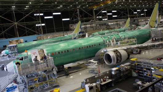 A Boeing Co. 737 MAX 9 jetliner sits on the production floor at the company's manufacturing facility in Renton, Washington, U.S., on Monday, Feb. 13, 2017.