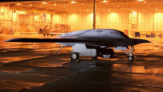 Northrup Grumman's mock-up of the company's unmanned combat air vehicle, the X-47B.