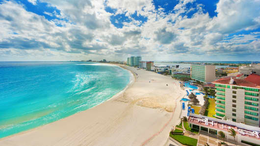 The beach and resort hotel district of Cancun, Mexico.
