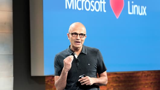 Microsoft CEO Satya Nadella at a company event in San Francisco in 2014.