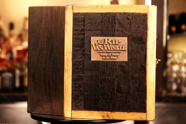 This box was fashioned from the bourbon's distillery barrel.