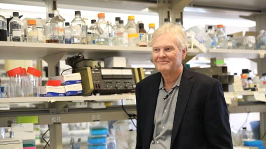 Rockefeller University biologist Michael Young stands in his lab after winning the Nobel Prize in Medicine on October 2, 2017 in New York City. Young was one of the three scientists who discovered the molecular mechanism of circadian rhythm, which governs biological clocks that regulate sleep, eating behavior and metabolism.