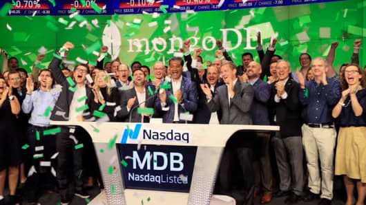 MongoDB IPO at the Nasdaq October 19, 2017.