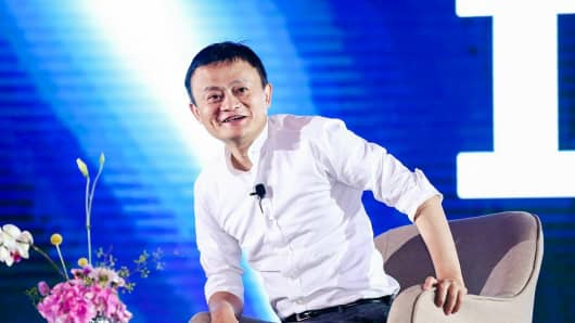 Alibaba CEO Jack Ma makes a speech at 2017 Global Netreprenuer Conference on July 11, 2017 in Hangzhou, Zhejiang Province of China.