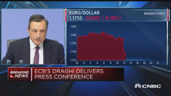 Rates to stay at current level past QE, ECB's Draghi says