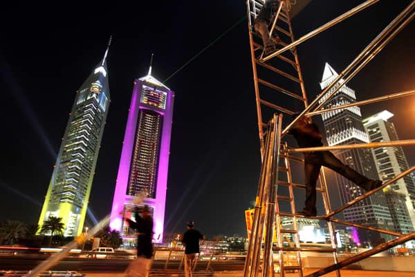 The iconic Emirates Towers in Dubai, United Arab Emirates.