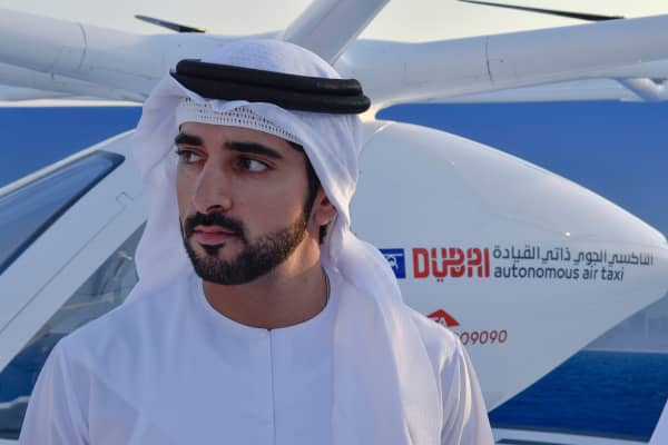 Dubai Crown Prince Sheikh Hamdan bin Mohammed Al Maktoum (center), attends presentation and first flight of the Volocopter 2X used as Autonomous Air Taxi, in Dubai, United Arab Emirates, on September 25, 2017.