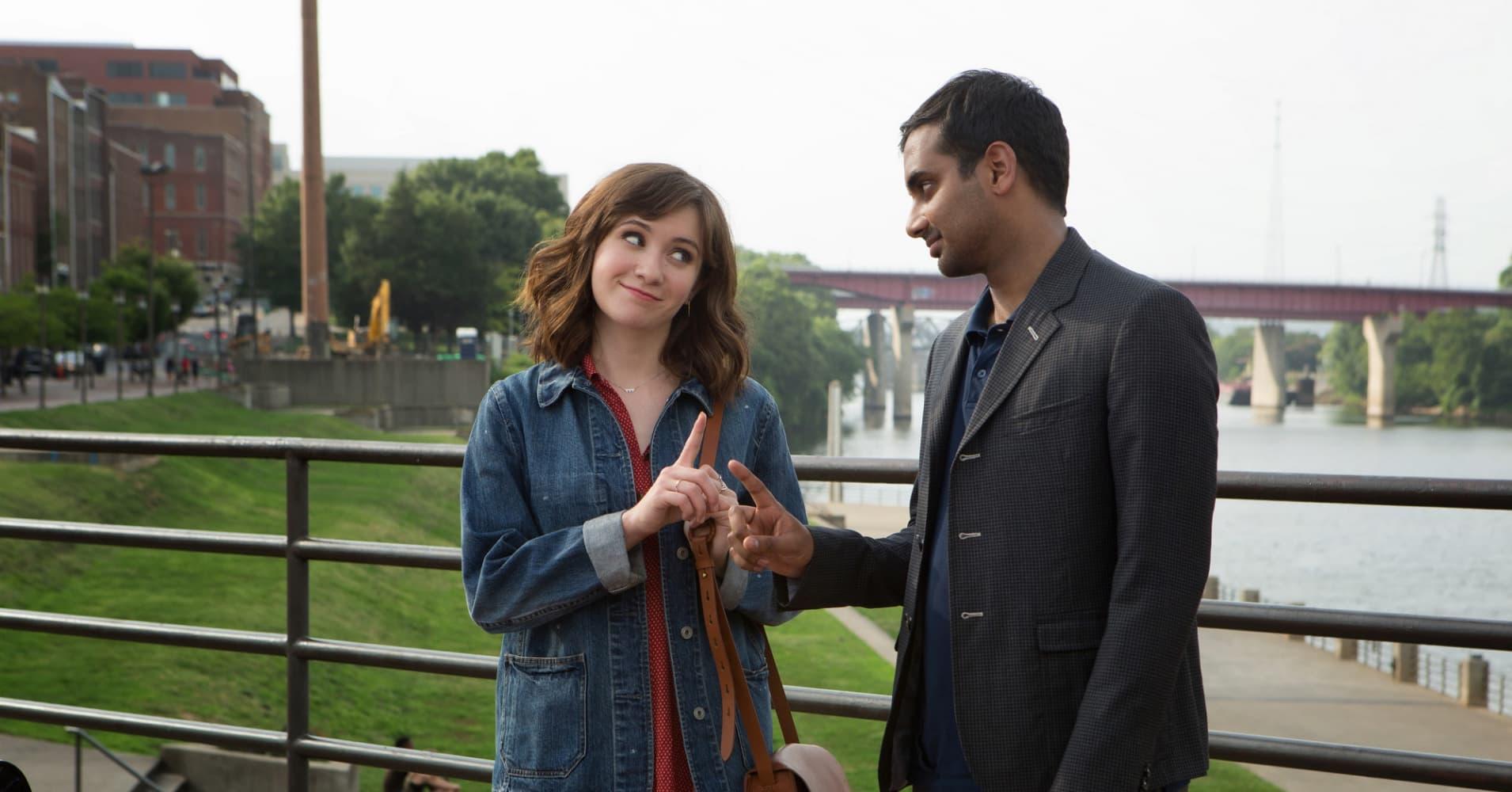 "Noël Wells as Rachel and Aziz Ansari as Dev on ""Master of None."""