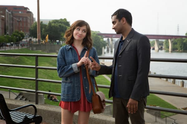 "Noël Wells as Rachel and Aziz Ansari as Dev on ""Master of None."""