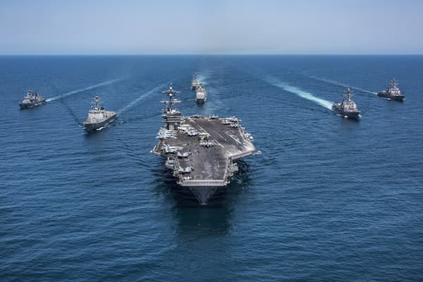 In this handout photo from the U.S. Navy, a strike force of Republic of Korea and U.S. warships patrol May 3, 2017 in the western Pacific Ocean, led by the Nimitz-class aircraft carrier USS Carl Vinson.