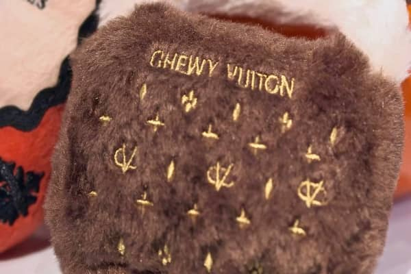 'Chewy Vuiton' squeak toy sold at Canine Styles