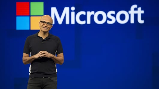 Satya Nadella, CEO of Microsoft Corp., smiles during the Microsoft Developers Build Conference in Seattle, Washington, USA, on Wednesday, May 10, 2017.