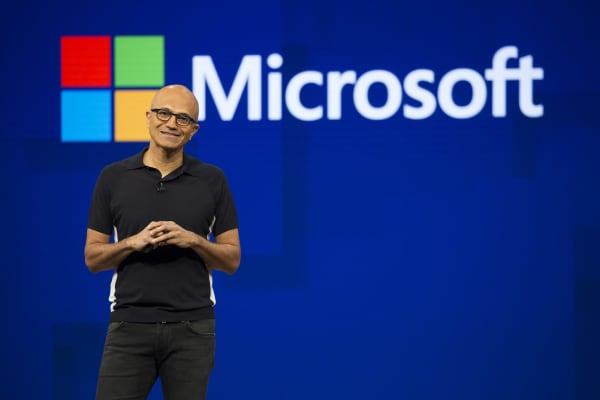 Satya Nadella, chief executive officer of Microsoft Corp., smiles during the Microsoft Developers Build Conference in Seattle, Washington, U.S., on Wednesday, May 10, 2017.