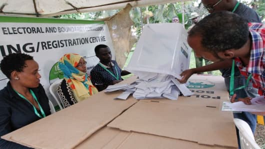 Officials about to count ballots at a polling station in Mombasa, Kenya, on October 26, 2017.