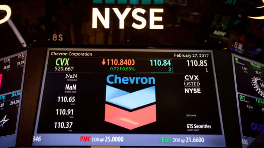 Chevron Corp. signage is displayed on a monitor on the floor of the New York Stock Exchange (NYSE) in New York, U.S., on Monday, Feb. 27, 2017.