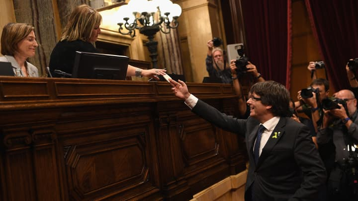 Catalan President Carles Puigdemont casts his vote for independence from Spain at the Catalan Government building Generalitat de Catalunya on October 27, 2017 in Barcelona, Spain.