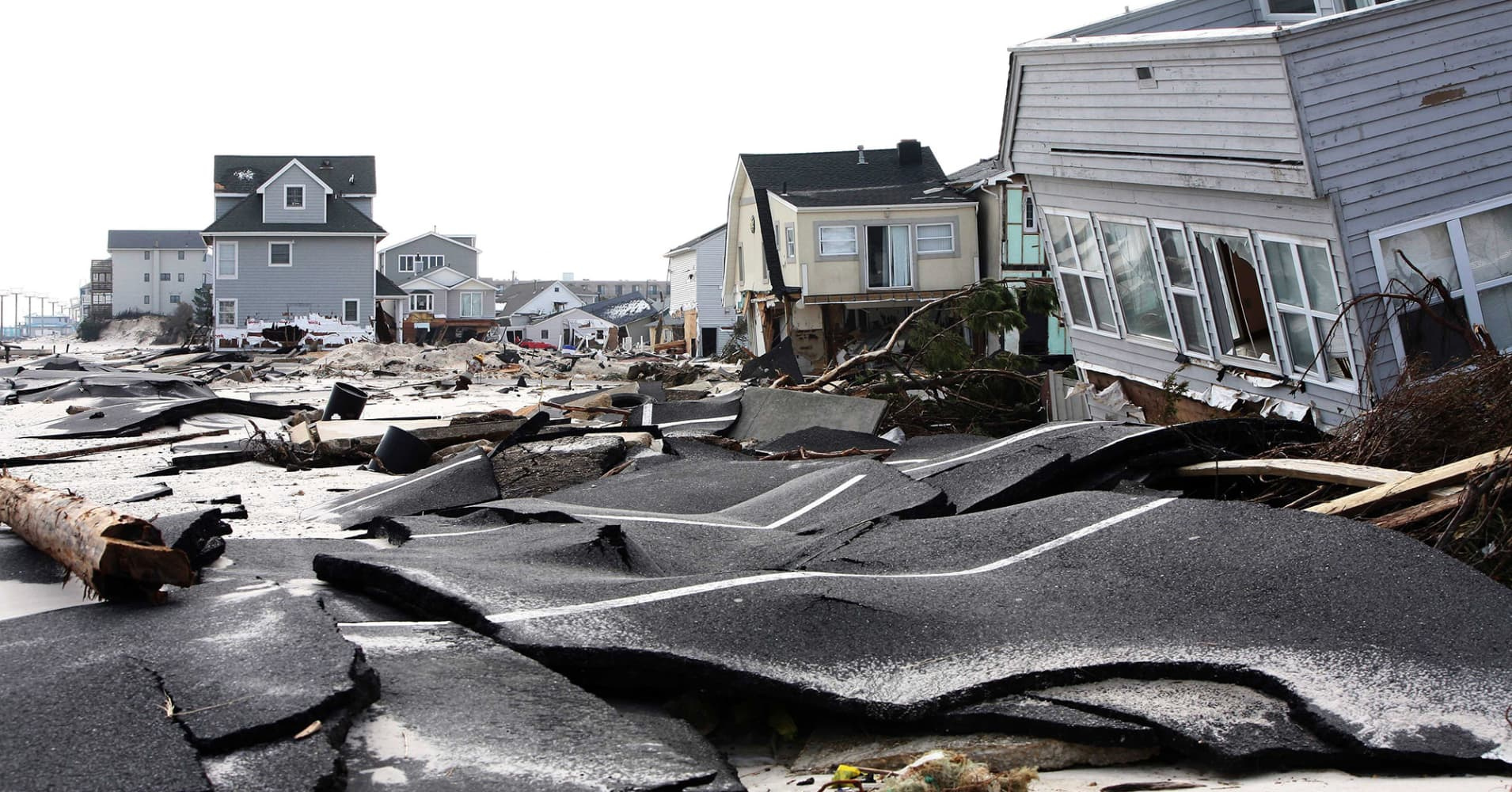 Streets damaged in Ortley Beach, New Jersey.