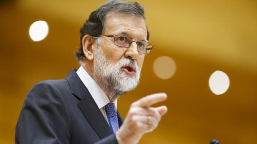 Mariano Rajoy, Spain's prime minister, gestures as he speaks in the senate in Madrid, Spain, on Friday, Oct. 27, 2017.