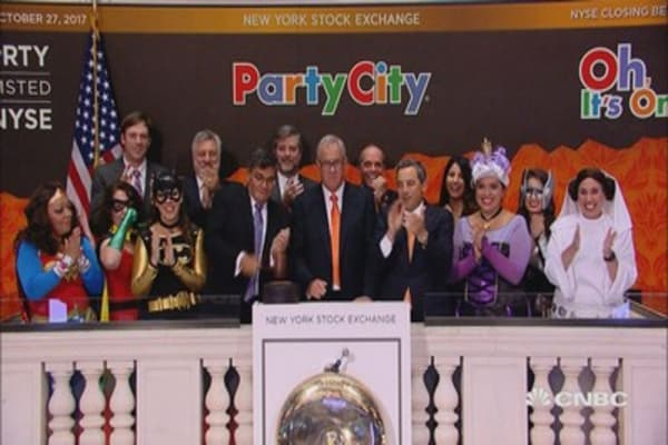 Party City executives get traders in the Halloween spirit at the NYSE