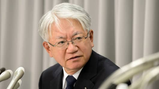Hiroya Kawasaki, president and CEO of Kobe Steel, speaks during a news conference in Tokyo, Japan, on Oct. 26, 2017.