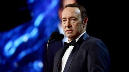 Kevin Spacey speaks onstage at the 2017 AMD British Academy Britannia Awards Presented by American Airlines And Jaguar Land Rover at The Beverly Hilton Hotel on October 27, 2017 in Beverly Hills, California.