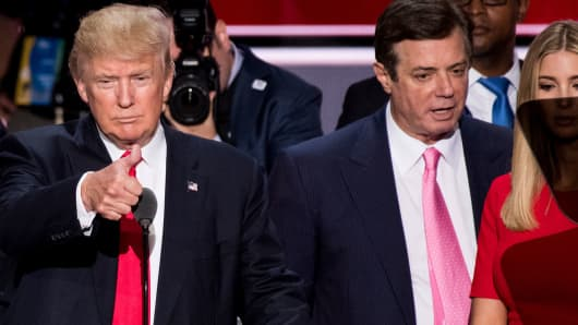 Donald Trump, Paul Manafort and Ivanka Trump check the podium at the 2016 Republican National Convention in Cleveland, July 21, 2016.