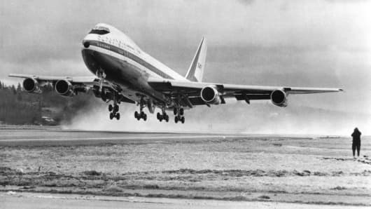 The world's largest commercial jetliner, the Boeing 747 makes its first takeoff on February 9th, 1969. The 231 ft. jet used abut 4500 feet of runway and became airborne at a speed of about 170 MPH. The 747 cut its maiden flight short by about an hour due to some minor problem when the wing flaps were lowered to a 30 degree angle.