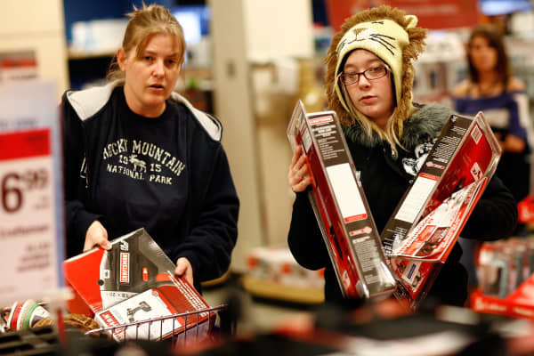 Customers shop for power tools at a Sears department store in Fort Worth, Texas