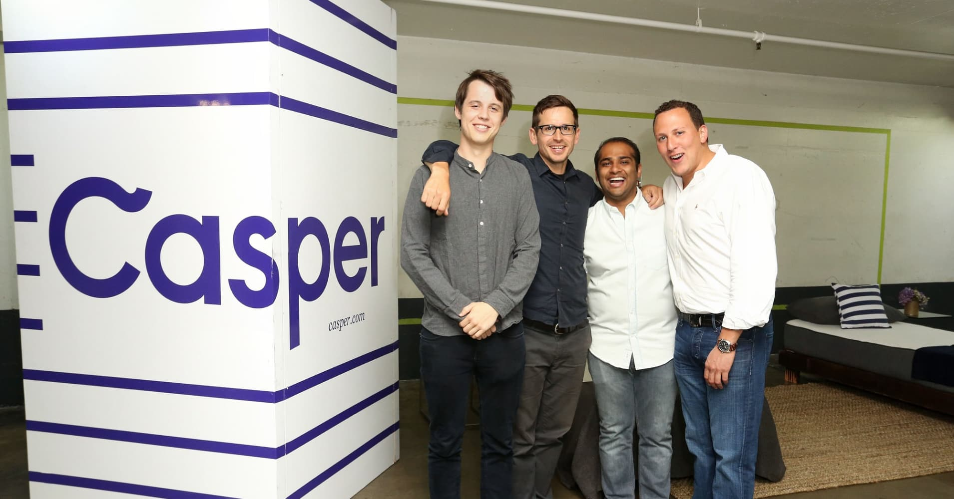 Casper Co-Founders T. Luke Sherwin, Jeff Chapin, Neil Parikh, and Philip Krim attend Casper's LA celebration at Blind Dragon on July 9, 2015 in West Hollywood, California.