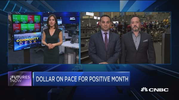 Dollar on pace for positive month
