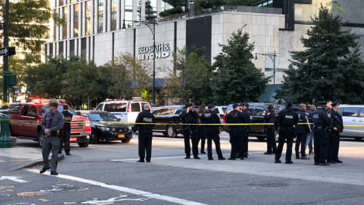 Police at the scene in Lower Manhattan, October 31, 2017.