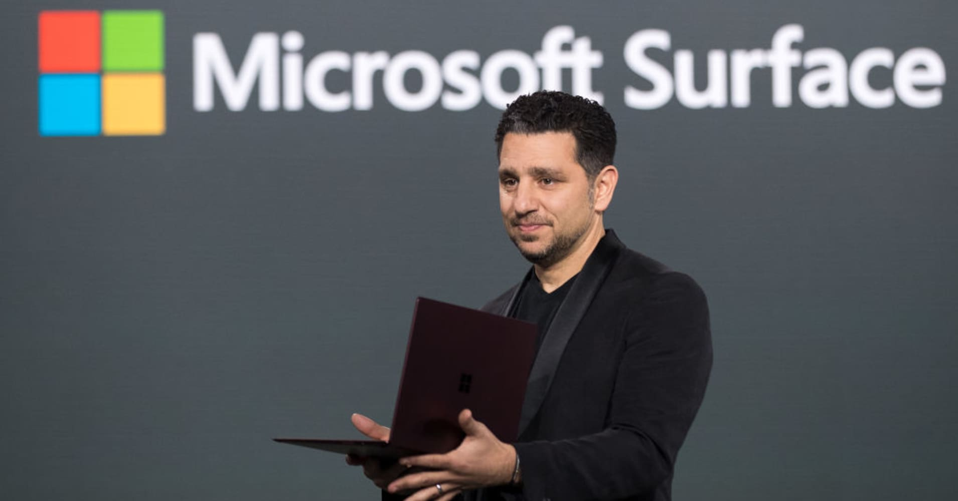 Panos Panay, corporate vice president of device at Microsoft, speaks about the new Surface Laptop during a launch event, May 2, 2017 in New York City.